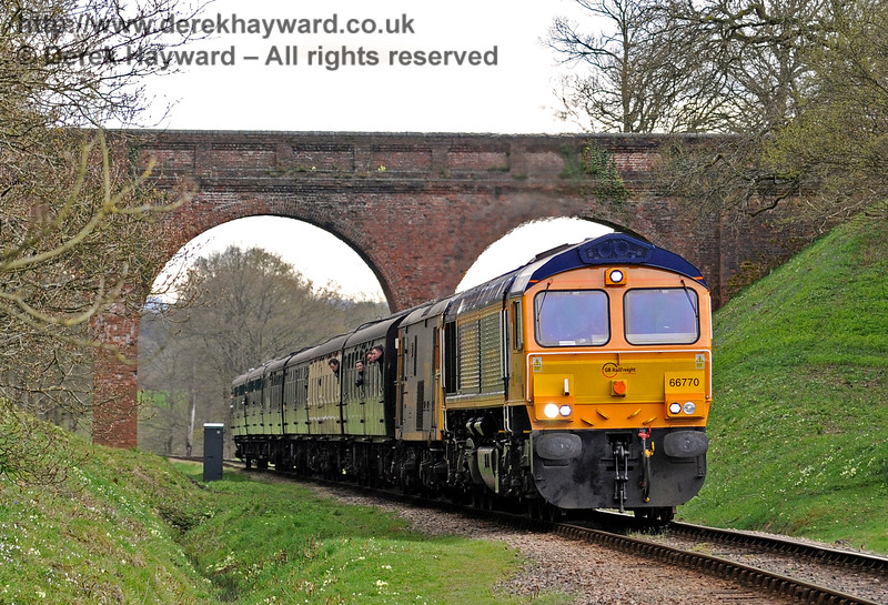 66770 and a Class 73 travel north through Three Arch Bridge.  Bluebell Railway Diesel Gala, in association with GBRailfreight. 16.04.2016  12764