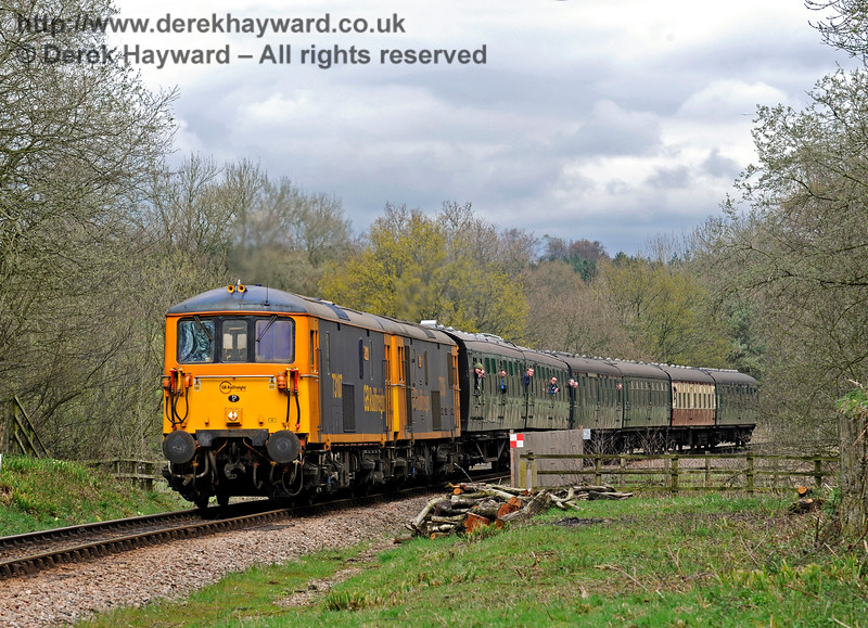 Double heading Class 73s travel south over New Coombe Bridge.  Bluebell Railway Diesel Gala, in association with GBRailfreight. 16.04.2016  12747