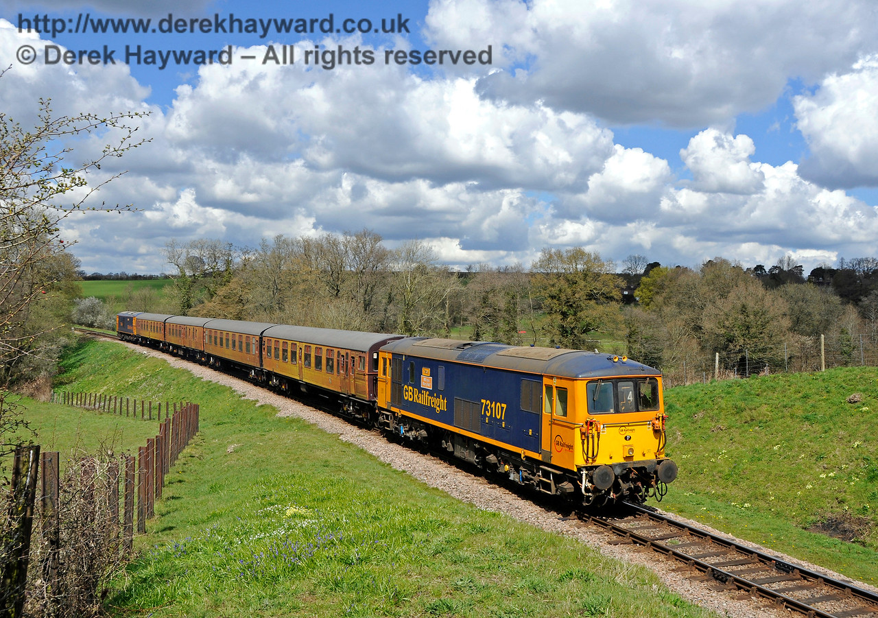 73107 leads the 4-TC into Rock Cutting with 73964 bringing up the rear.  Bluebell Railway Diesel Gala, in association with GBRailfreight. 17.04.2016  14877