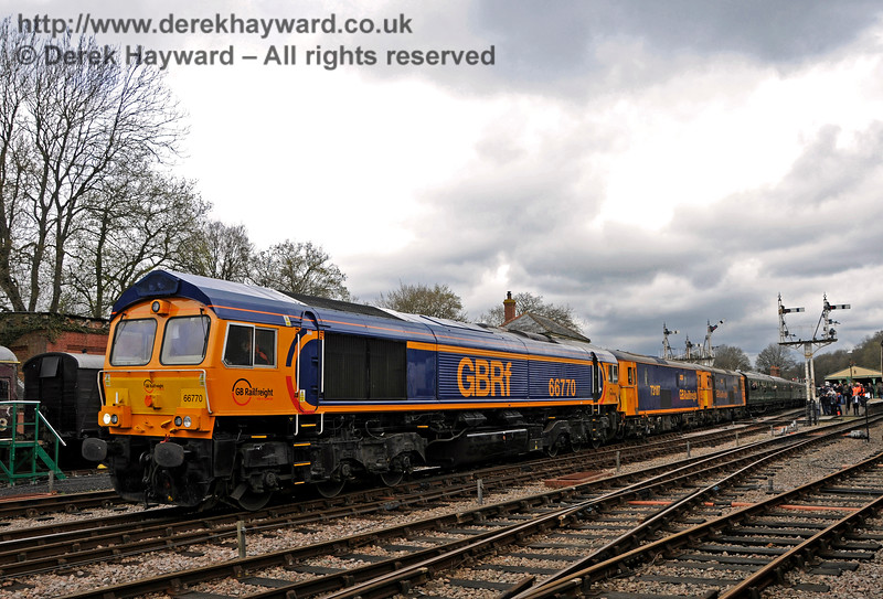 A triple header, led by 66770, leaves Horsted Keynes with a southbound train.  Bluebell Railway Diesel Gala, in association with GBRailfreight. 16.04.2016  14798