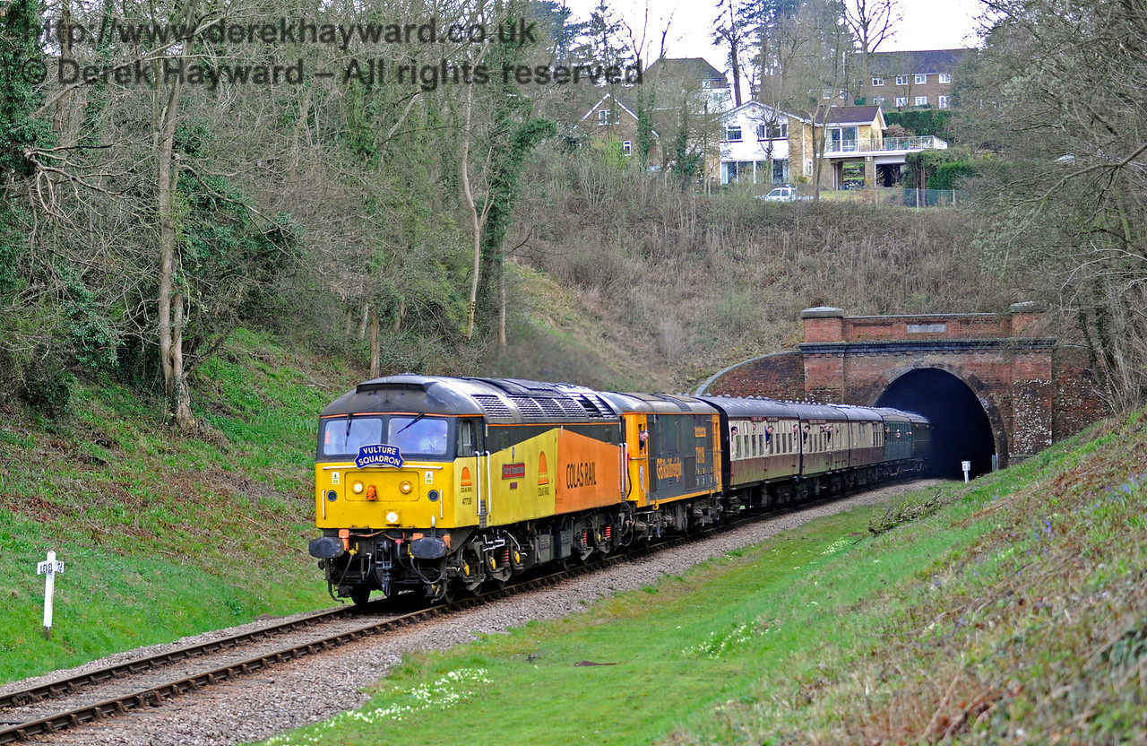 47739 emerges from West Hoathly Tunnel.  Bluebell Railway Diesel Gala, in association with GBRailfreight. 16.04.2016  12740