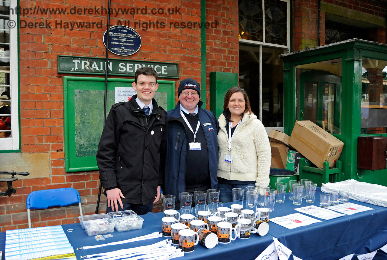 The GBRf stand.  Tracy was, at the time, completely unaware that she was about to receive a proposal of marriage from GBRf Business Manager Paul Taylor.  Bluebell Railway Diesel Gala, in association with GBRailfreight. 16.04.2016  14790