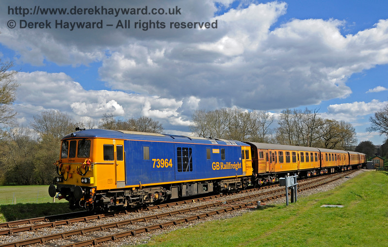 73964 with the 4-TC at Kingscote.  Bluebell Railway Diesel Gala, in association with GBRailfreight. 17.04.2016  14903