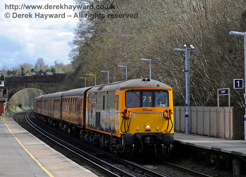 Class 73s and the 4-TC at Chelsfield on the way from Tonbridge Yard to the Bluebell Railway Diesel Gala, in association with GBRailfreight. 13.04.2016  12730