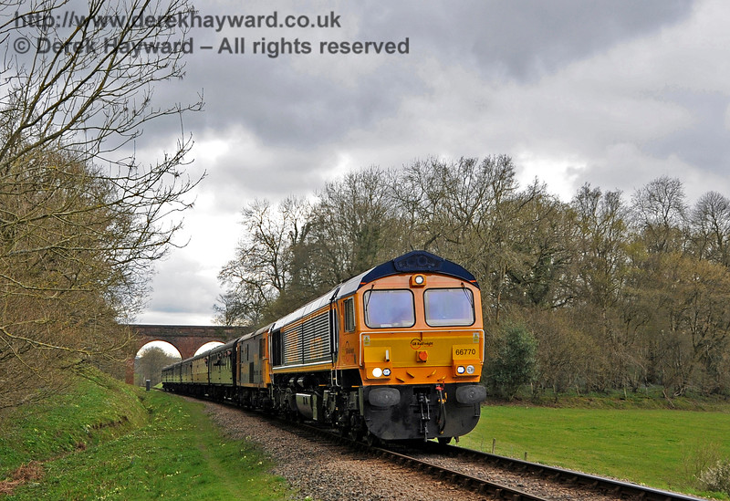 66770 and a Class 73 head north from Three Arch Bridge.  Bluebell Railway Diesel Gala, in association with GBRailfreight. 16.04.2016  14820