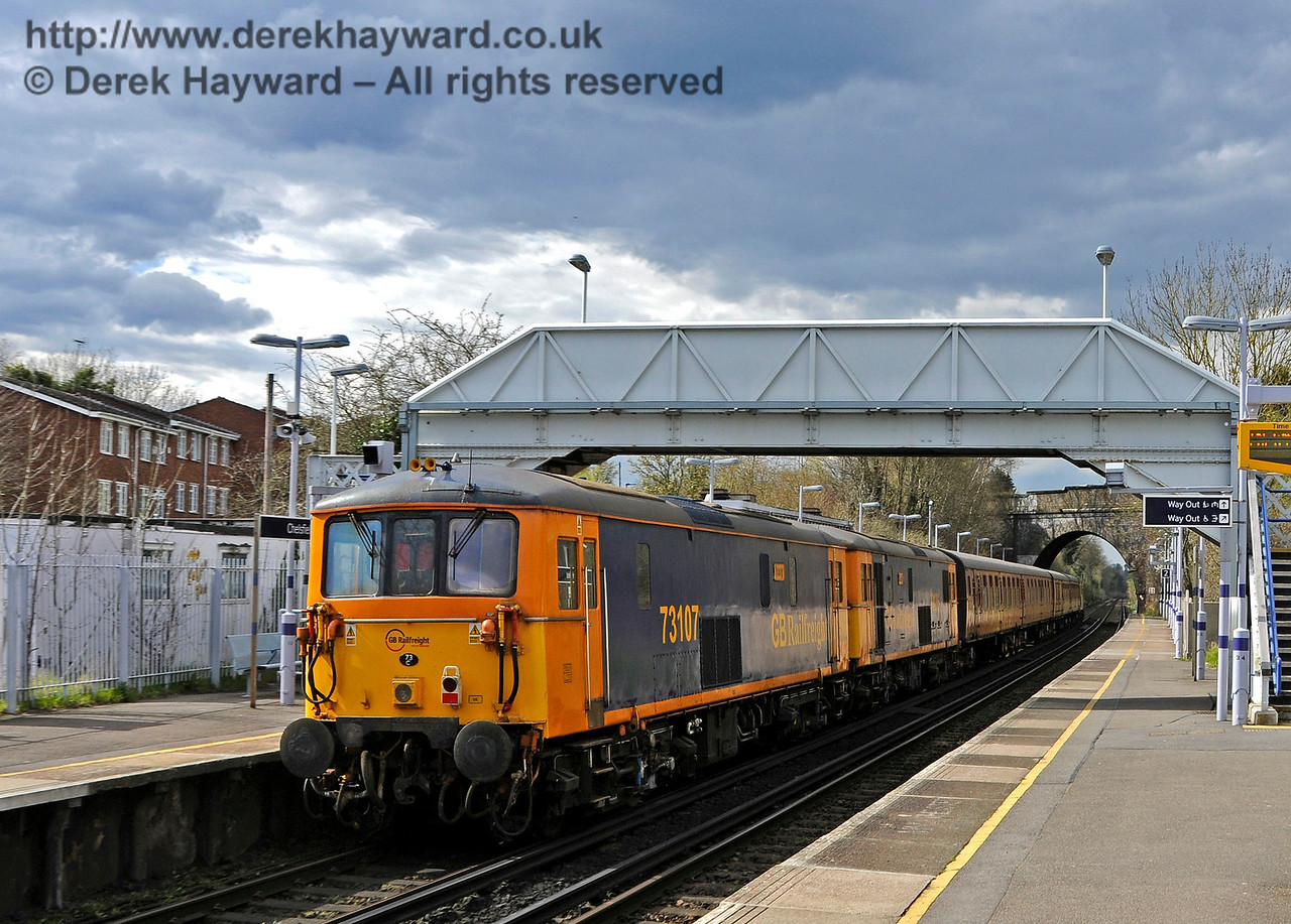 Class 73s and the 4-TC at Chelsfield on the way from Tonbridge Yard to the Bluebell Railway Diesel Gala, in association with GBRailfreight. 13.04.2016  14774