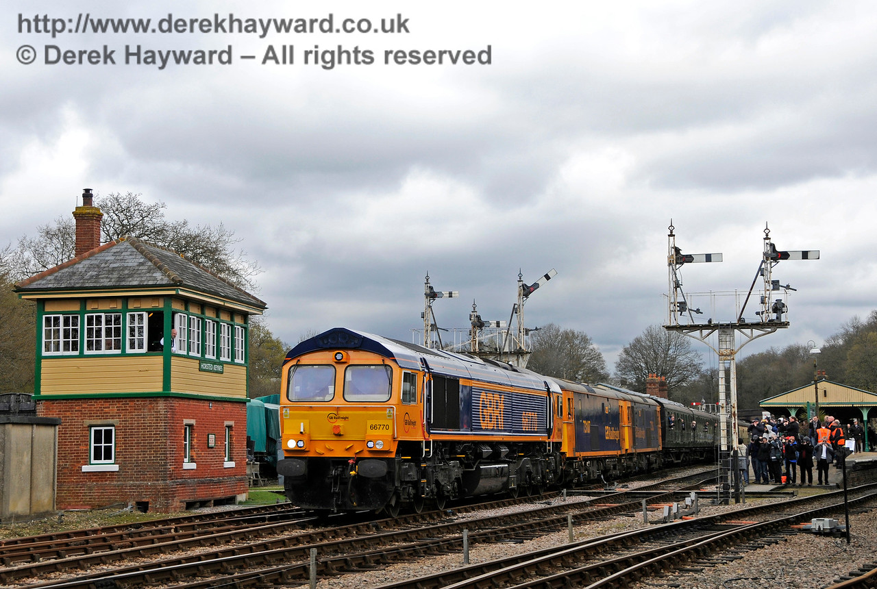 66770 leads a triple header past Horsted Keynes signal box.  Bluebell Railway Diesel Gala, in association with GBRailfreight. 16.04.2016  14792