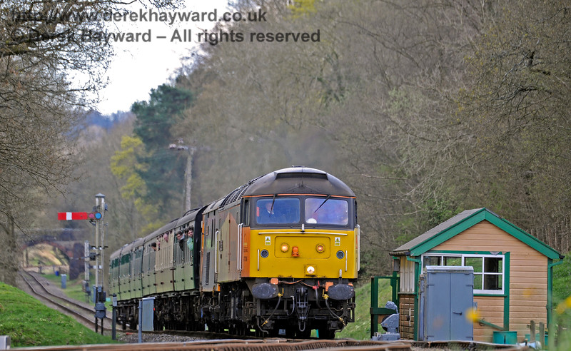47739 passes the old Kingscote signal box.  No more token exchanges here.  Bluebell Railway Diesel Gala, in association with GBRailfreight. 17.04.2016  12840