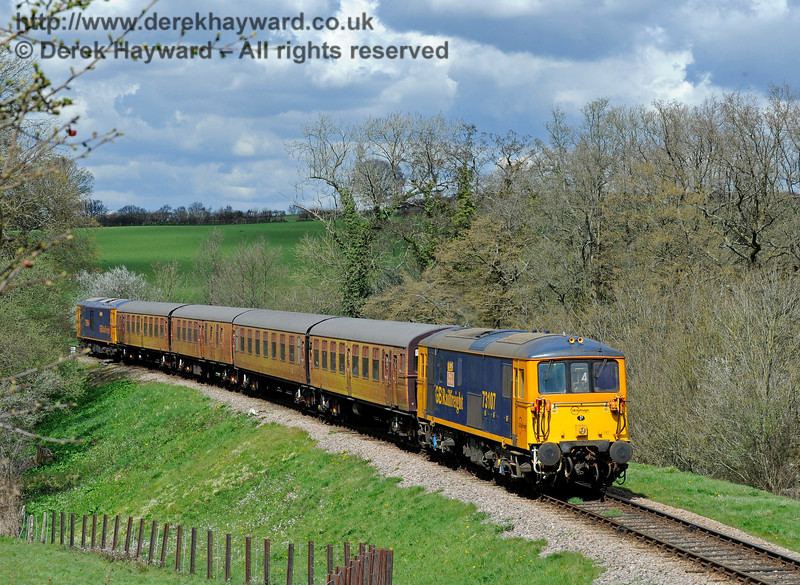 73107 runs south across Tremains Foot Crossing with the 4-TC and 73964 bringing up the rear. Bluebell Railway Diesel Gala, in association with GBRailfreight. 17.04.2016  12823