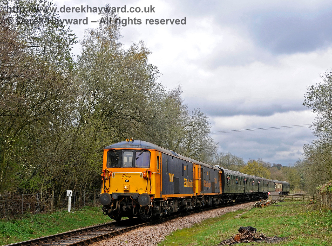 Double heading Class 73s travel south from New Coombe Bridge.  Bluebell Railway Diesel Gala, in association with GBRailfreight. 16.04.2016  14785