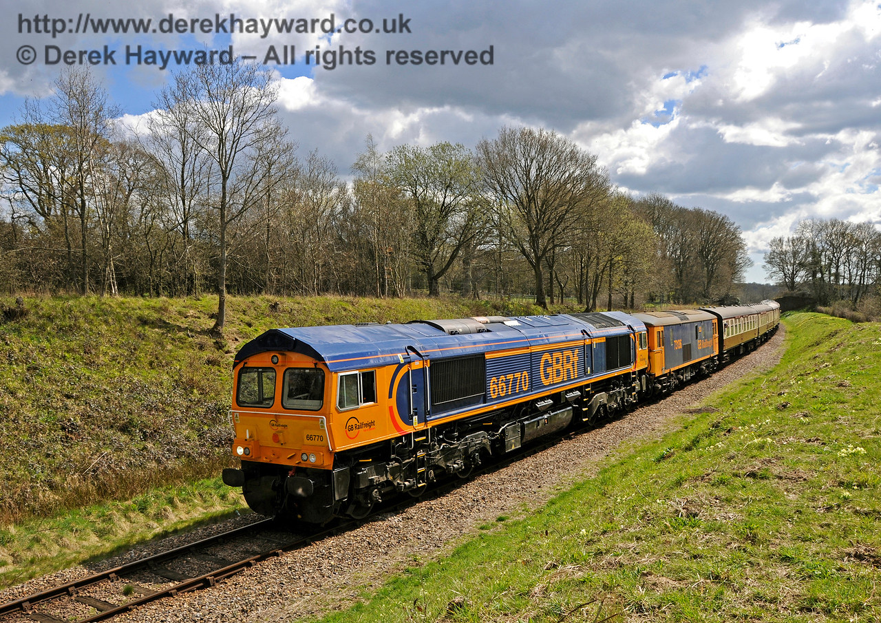 66770 and a Class 73 approach Freshfield.  Bluebell Railway Diesel Gala, in association with GBRailfreight. 17.04.2016  14875
