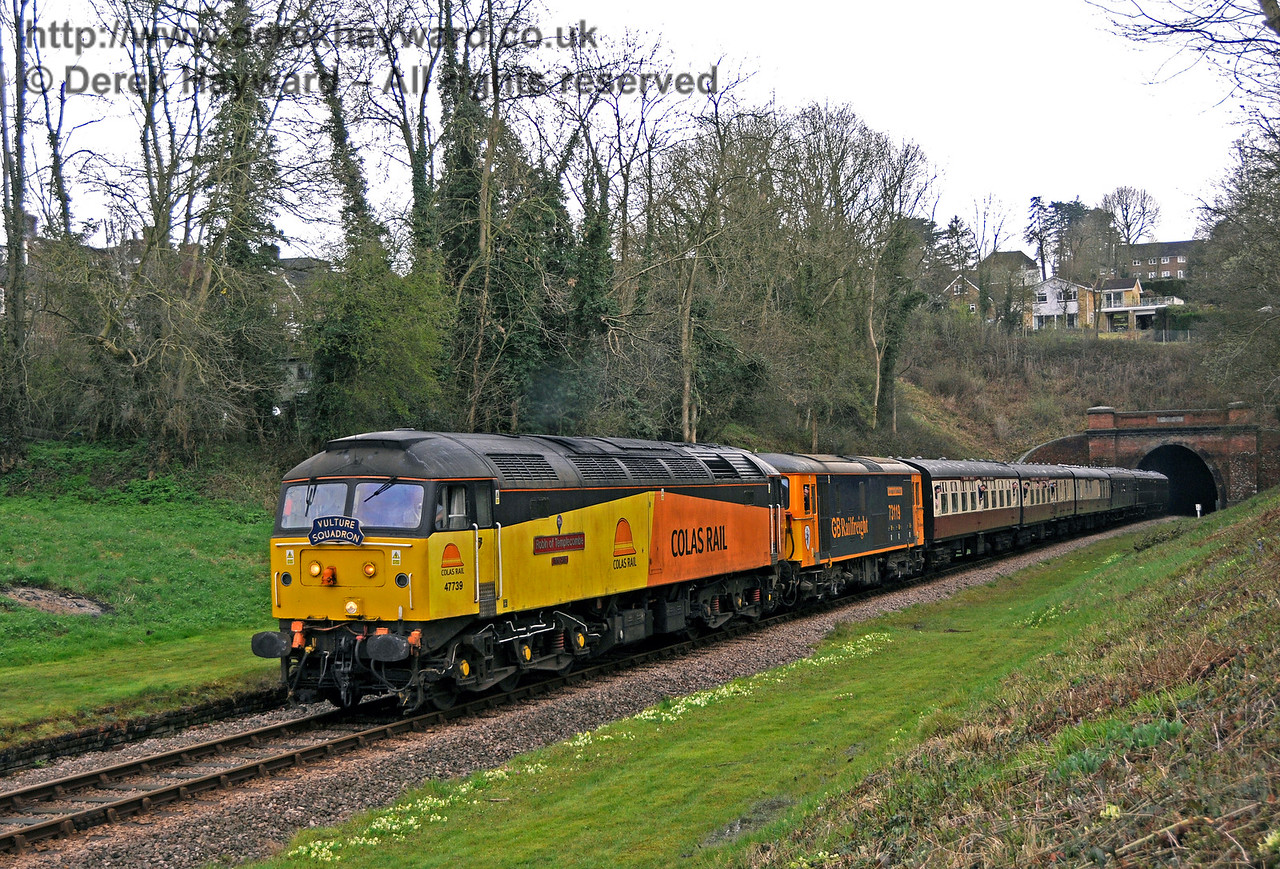 47739 and a Class 73 run north through the site of the former West Hoathly station.  Bluebell Railway Diesel Gala, in association with GBRailfreight. 16.04.2016  14779