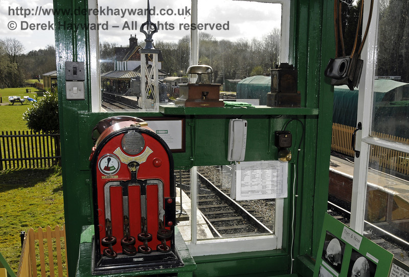 The token machine in the Kingscote North Signal Box, which allows the remote release of the East Grinstead token.  More details are in the Kingscote gallery.  21.03.2014  10079