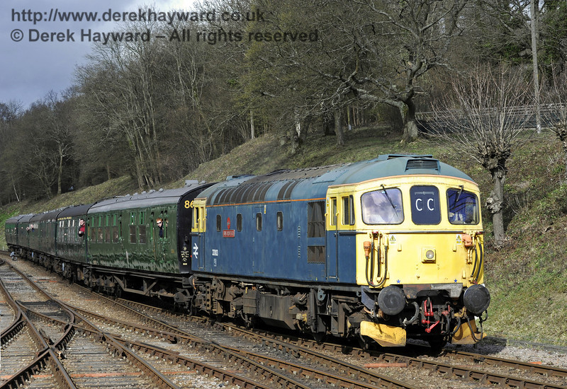 33103 Swordfish arrives at Horsted Keynes with a service train.  21.03.2014  8809