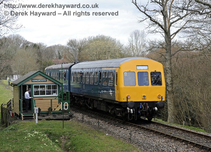 The DMU at Kingscote south signal box.  21.03.2014  8771