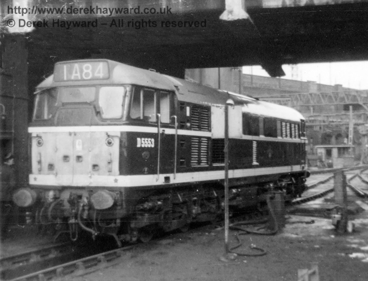 After some searching in my archives I have managed to find this old (unfortunately damaged) image of D5553 (Class 31) at Liverpool Street on an unknown date.