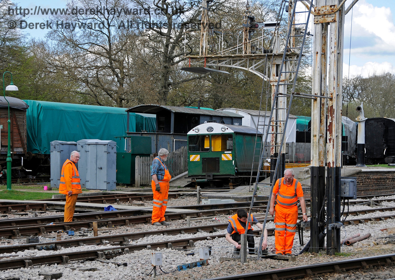 "You are the signalman but nothing happens when you pull the lever...  Some nice men from ""Serious and Technical"" arrive to fix it.  Horsted Keynes 02.04.2017 17039"