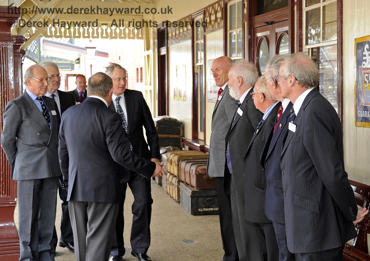 The Duke of Gloucester is introduced to David Cochram, Education Officer; Tony Hillman and Roger Cruse, Photographic Archivists; Terry Cole, Museum Governance and Bob Bird, Curatorial Advisor.  10.10.2013  8265