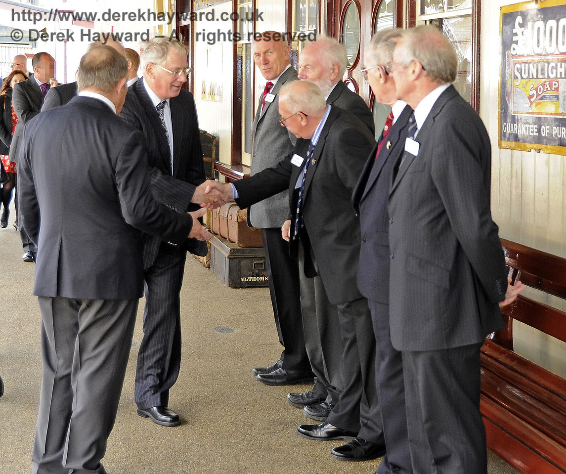 The Duke of Gloucester is introduced to David Cochram, Education Officer; Tony Hillman and Roger Cruse, Photographic Archivists; Terry Cole, Museum Governance and Bob Bird, Curatorial Advisor.  10.10.2013  8268