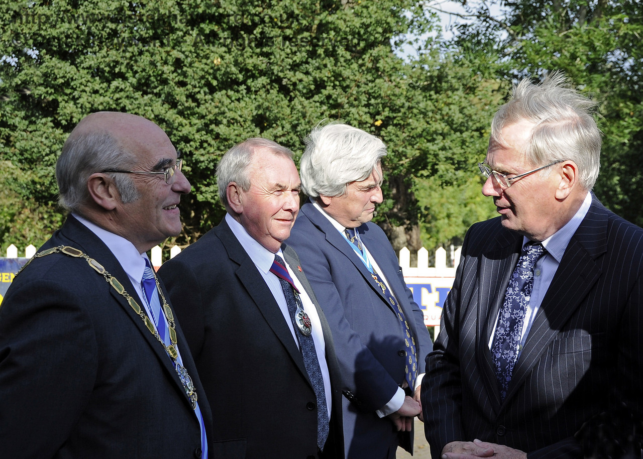 HRH The Duke of Gloucester, KG, GCVO, is welcomed to the Bluebell Railway by the High Sheriff of East Sussex, Mr Graham Peters DL; the Chairman of East Sussex County Council, Cllr Colin Belsey; and the Chairman of Wealden District Council, Cllr Dr Brian Redmond.  10.10.2013  8212