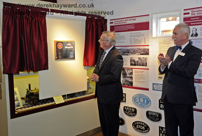 The Duke of Gloucester, KG, GCVO, is invited to unveil a plaque to mark his visit to the Bluebell Railway.  10.10.2013  8289
