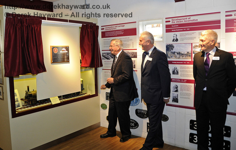 The Duke of Gloucester, KG, GCVO, is invited to unveil a plaque to mark his visit to the Bluebell Railway.  10.10.2013  8286