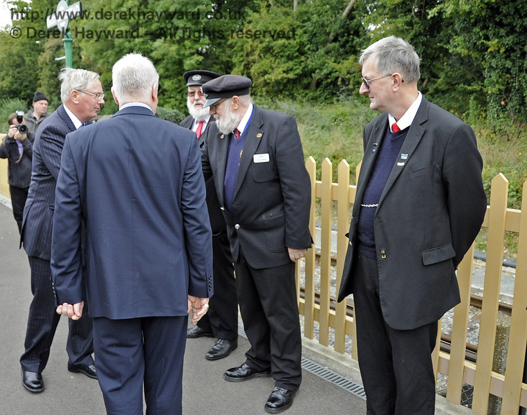The Duke of Gloucester meets representatives of the staff at East Grinstead Station: Pat Page, Station Master; Mike Gibbard and David Shannon, Senior Leading Porters; and Roger Bell and Barry Potter (not pictured), Senior Booking Clerks.  10.10.2013  8309