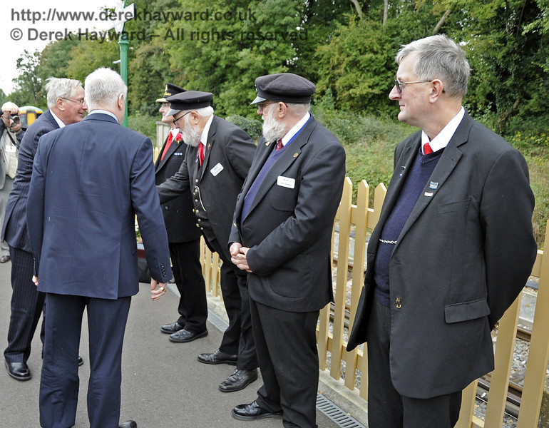 The Duke of Gloucester meets representatives of the staff at East Grinstead Station: Pat Page, Station Master; Mike Gibbard and David Shannon, Senior Leading Porters; and Roger Bell and Barry Potter (not pictured), Senior Booking Clerks.  10.10.2013  8307