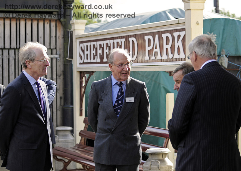 The Duke of Gloucester, accompanied by the Lord Lieutenant, is told about local produce that once went direct from this platform to Buckingham Palace.  10.10.2013  9787