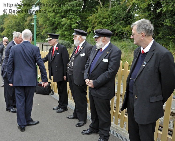 The Duke of Gloucester meets representatives of the staff at East Grinstead Station: Pat Page, Station Master; Mike Gibbard and David Shannon, Senior Leading Porters; and Roger Bell and Barry Potter (not pictured), Senior Booking Clerks.  10.10.2013  8306