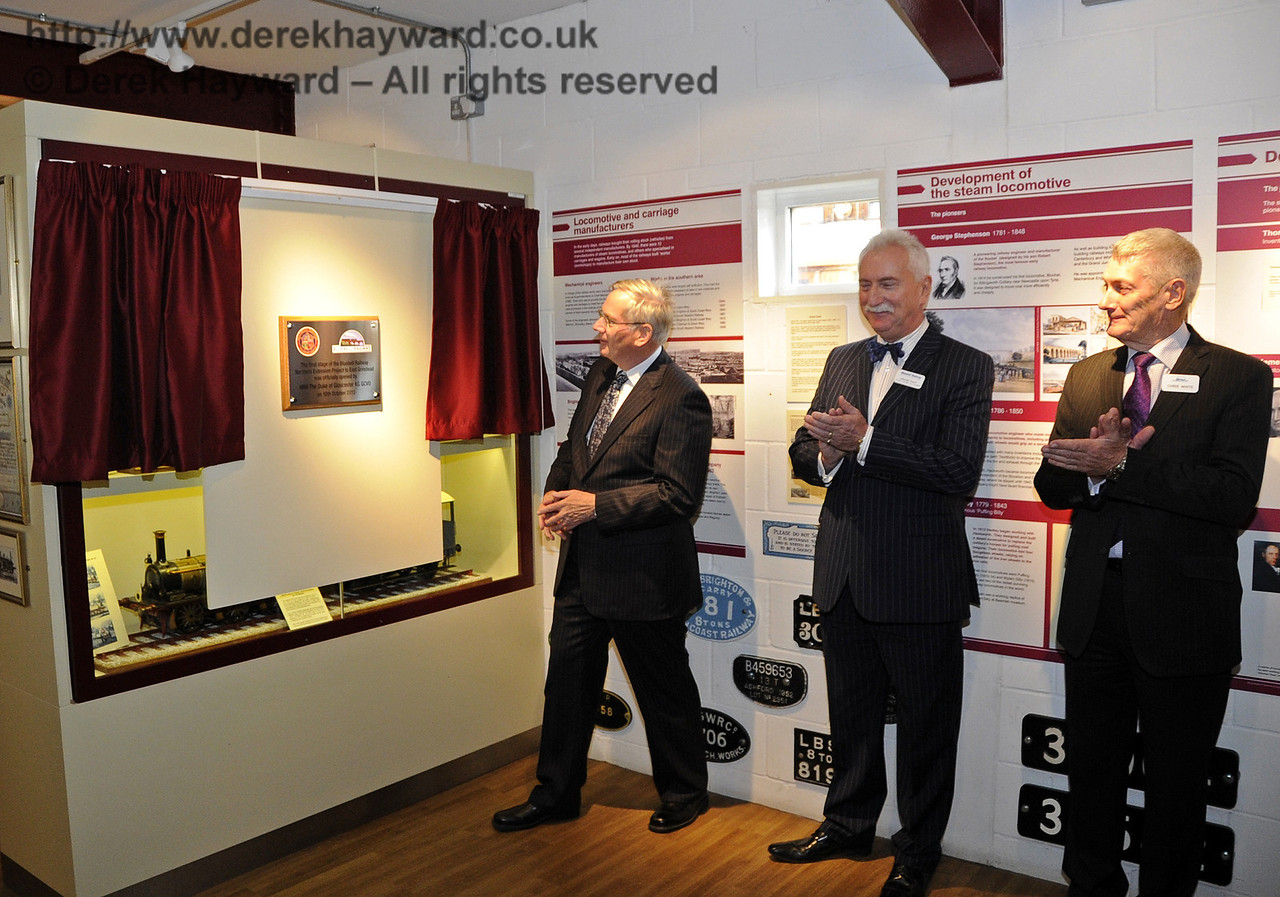 The Duke of Gloucester, KG, GCVO, is invited to unveil a plaque to mark his visit to the Bluebell Railway.  10.10.2013  8288