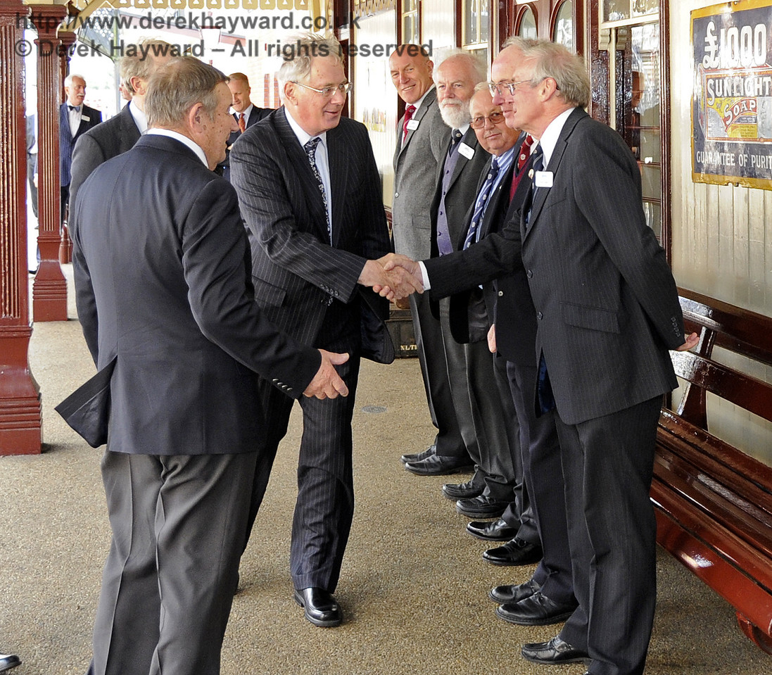 The Duke of Gloucester is introduced to David Cochram, Education Officer; Tony Hillman and Roger Cruse, Photographic Archivists; Terry Cole, Museum Governance and Bob Bird, Curatorial Advisor.  10.10.2013  8271