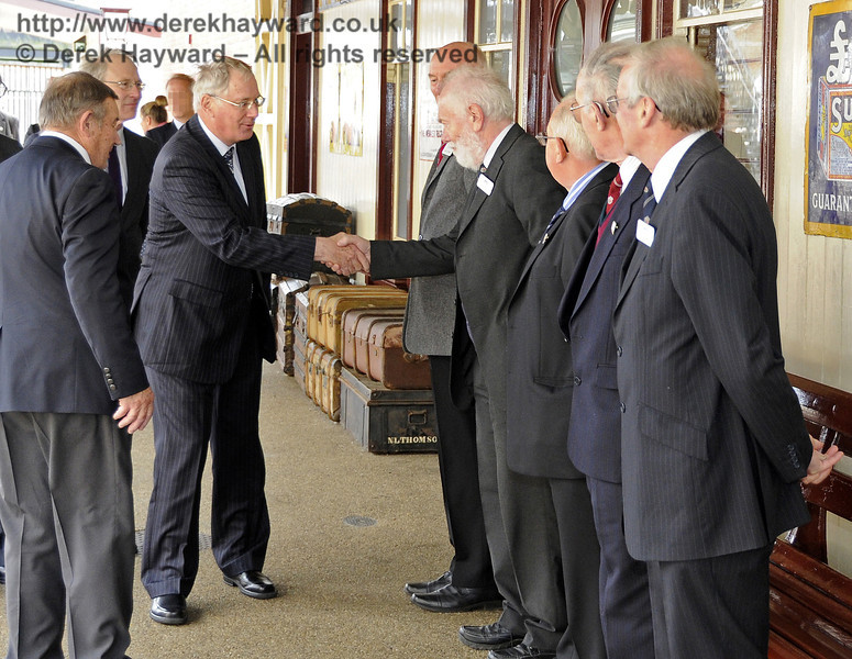 The Duke of Gloucester is introduced to David Cochram, Education Officer; Tony Hillman and Roger Cruse, Photographic Archivists; Terry Cole, Museum Governance and Bob Bird, Curatorial Advisor.  10.10.2013  8266
