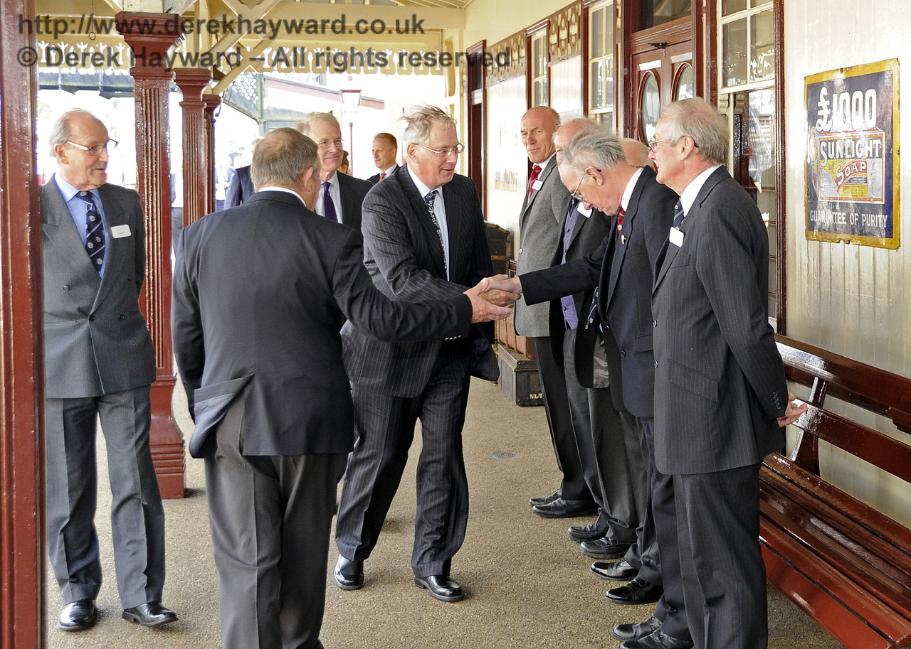 The Duke of Gloucester is introduced to David Cochram, Education Officer; Tony Hillman and Roger Cruse, Photographic Archivists; Terry Cole, Museum Governance and Bob Bird, Curatorial Advisor.  10.10.2013  8270