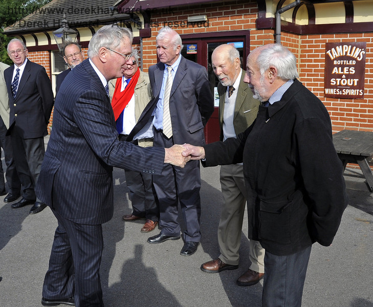 Larry Lamb is presented to the Duke of Gloucester.  10.10.2013  8247
