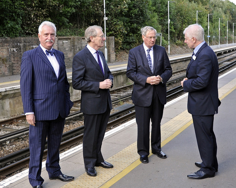 The Duke of Gloucester was due to travel to London and is seen taking his leave at East Grinstead (Network Rail).  Also pictured are Graham Flight, retiring Chairman of Bluebell Railway PLC, Mr Peter Field, Lord Lieutenant of East Sussex and Roy Watts, Chairman BRPS. 10.10.2013  8329