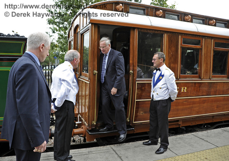 The Duke of Gloucester alights from the GN Saloon on his arrival at East Grinstead. 10.10.2013  8301