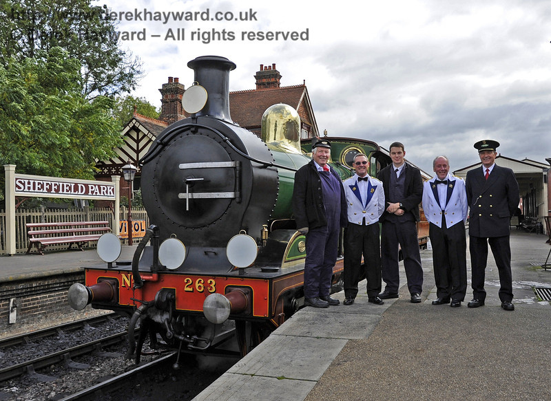 The crew of the Royal Train, Tom Dobson, Senior Driver; Ben Coughlan, Senior Fireman; Graham Aitken, Senior Train Guard; Trevor Summerfield, Steward; and (acting as Steward) Roger Price, Museum Archivist.   10.10.2013  8202