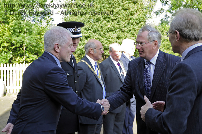 HRH The Duke of Gloucester, KG, GCVO, is introduced to Roy Watts, Chairman BRPS, by the Lord Lieutenant of East Sussex, Mr Peter Field.  10.10.2013  8216
