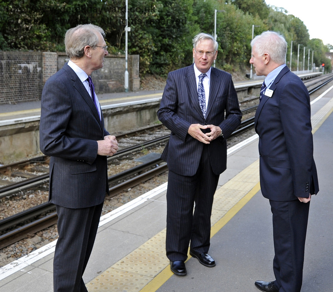 The Duke of Gloucester was due to travel to London and is seen taking his leave at East Grinstead (Network Rail).  Also pictured are Mr Peter Field, Lord Lieutenant of East Sussex and Roy Watts, Chairman BRPS  10.10.2013  8327