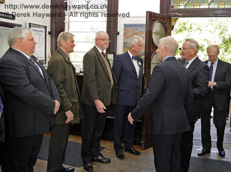 HRH The Duke of Gloucester, KG, GCVO, is introduced to senior members of the Bluebell Railway by Roy Watts.  Pictured are Graham Flight, retiring Chairman of the Bluebell Railway PLC; Russell Pearce, Company Secretary; Bill Brophy, Bluebell Trust Chairman; and Gavin Bennett, General Secretary, BRPS.  10.10.2013  8221