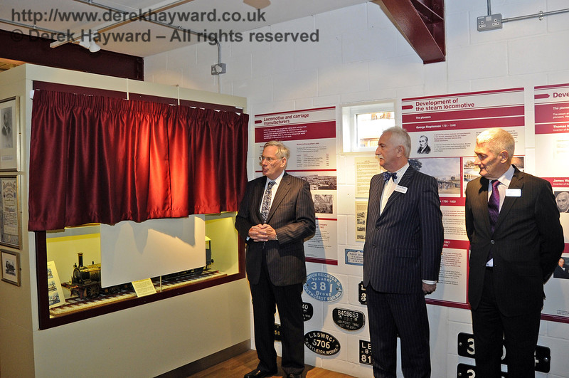 The Duke of Gloucester, KG, GCVO, is invited to unveil a plaque to mark his visit to the Bluebell Railway.  10.10.2013  8285