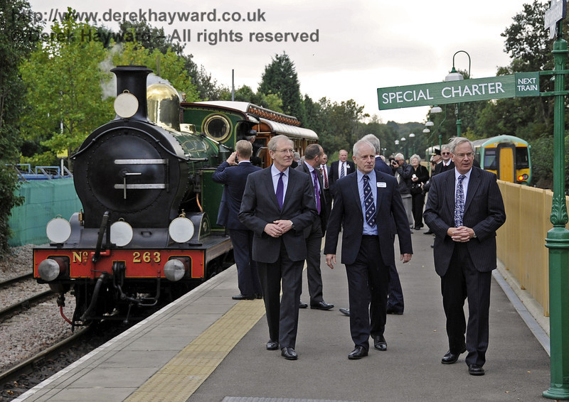 The Duke of Gloucester views the facilities at East Grinstead as he leaves the train.  10.10.2013  8318