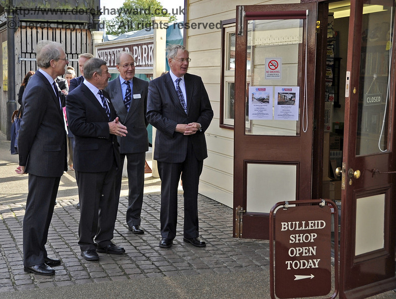 The Duke of Gloucester pauses outside the Bulleid Society shop.  10.10.2013  8264