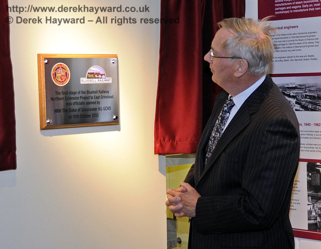 The Duke of Gloucester, KG, GCVO, is invited to unveil a plaque to mark his visit to the Bluebell Railway.  10.10.2013  8290