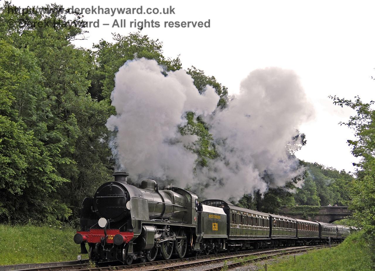 1638 steams north from Leamland Bridge.  Edwardian Weekend, Horsted Keynes, 23.06.2013 9145
