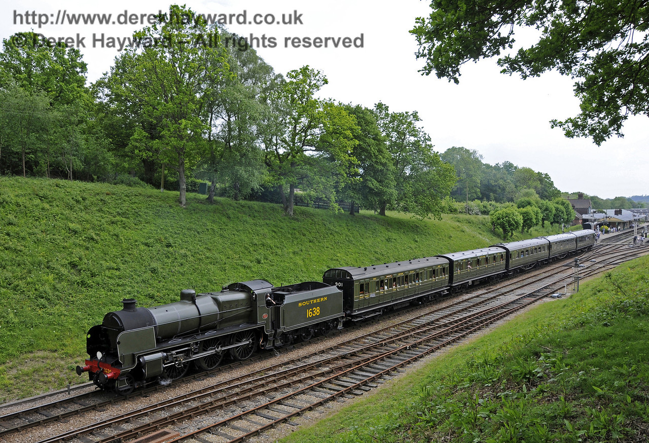 1638 steams north from Horsted Keynes station.  Edwardian Weekend 17.05.2014  10533