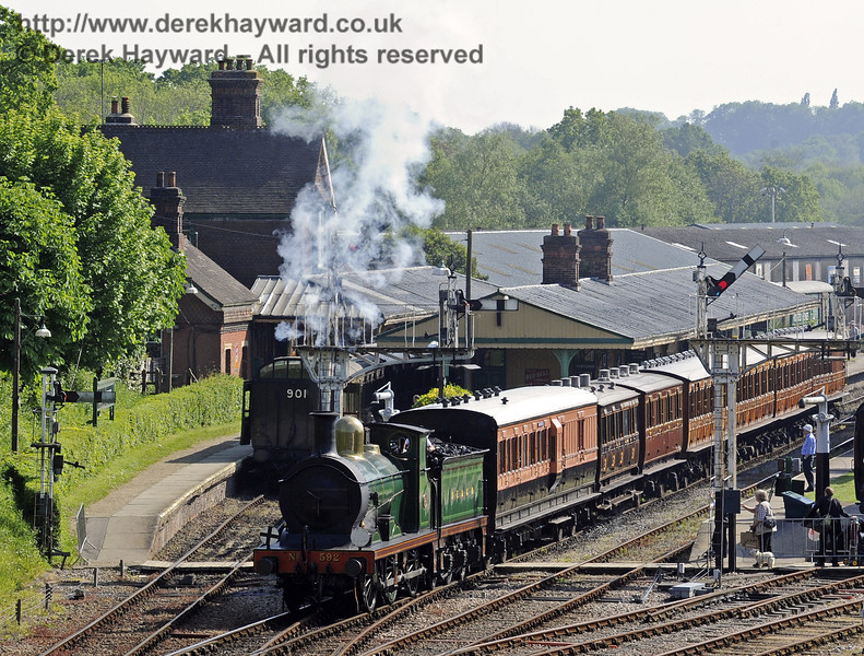 Horsted Keynes Station with both northbound and southbound services departing.  Edwardian Weekend 18.05.2014  9466