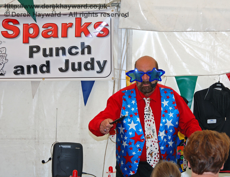 Entertaining the crowd in the Punch and Judy tent. Family Fun Weekend Horsted Keynes 29.06.2008
