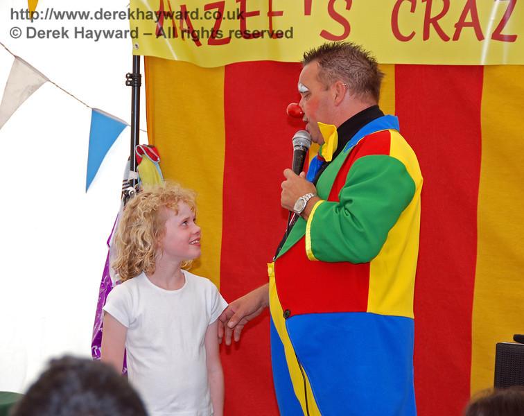 Interviewing a volunteer at Hazee's Crazee Circus. Family Fun Weekend Horsted Keynes 29.06.2008